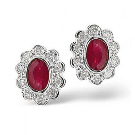 18K White Gold 0.20ct Diamond & 6mm x 4mm Ruby Earrings, DCE06-RW